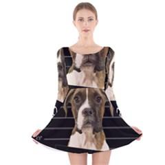 Bad dog Long Sleeve Velvet Skater Dress