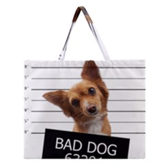 Bad dog Zipper Large Tote Bag