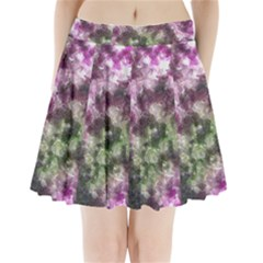 Purple green paint texture      Pleated Skirt