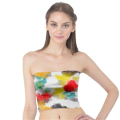 Colorful paint stokes      Women s Tube Top