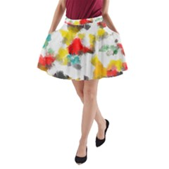 Colorful paint stokes           A-Line Pocket Skirt