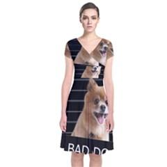 Bad dog Short Sleeve Front Wrap Dress