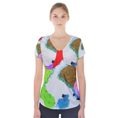 Painted shapes               Short Sleeve Front Detail Top