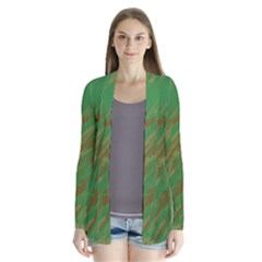 Brown green texture       Drape Collar Cardigan