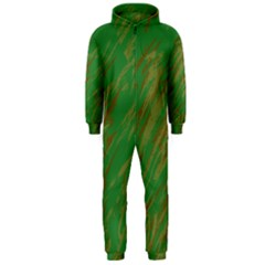 Brown green texture             Hooded Jumpsuit (Men)