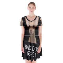 Bad dog Short Sleeve V-neck Flare Dress
