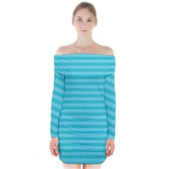 Abstract Blue Waves Pattern Long Sleeve Off Shoulder Dress
