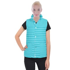 Abstract Blue Waves Pattern Women s Button Up Puffer Vest