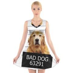 Bad dog V-Neck Sleeveless Skater Dress