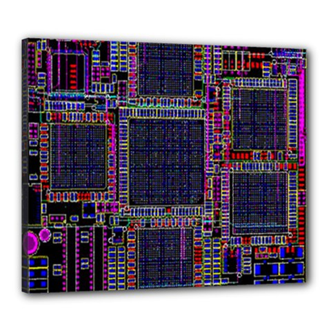 Cad Technology Circuit Board Layout Pattern Canvas 24  x 20