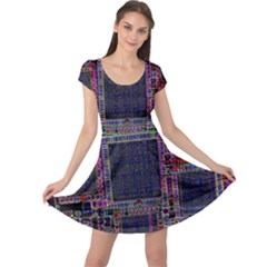 Cad Technology Circuit Board Layout Pattern Cap Sleeve Dresses