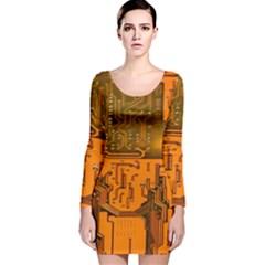 Circuit Board Pattern Long Sleeve Velvet Bodycon Dress