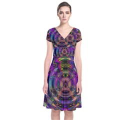 Color In The Round Short Sleeve Front Wrap Dress