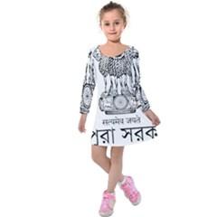 Seal Of Indian State Of Tripura Kids  Long Sleeve Velvet Dress