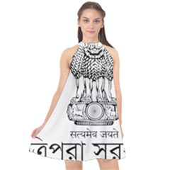 Seal Of Indian State Of Tripura Halter Neckline Chiffon Dress