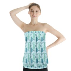 Flowers And Leaves Pattern Strapless Top