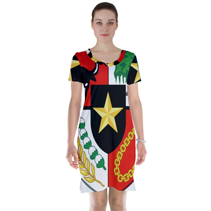 Shield of National Emblem of Indonesia Short Sleeve Nightdress