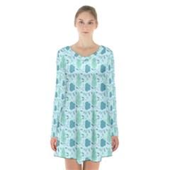 Seamless Floral Background  Long Sleeve Velvet V Neck Dress