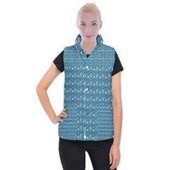 Seamless Floral Background  Women s Button Up Puffer Vest