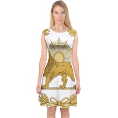 Lion & Sun Emblem Of Persia (iran) Capsleeve Midi Dress