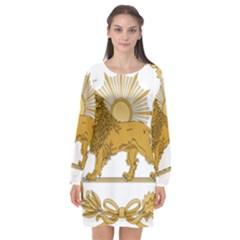 Lion & Sun Emblem Of Persia (iran) Long Sleeve Chiffon Shift Dress