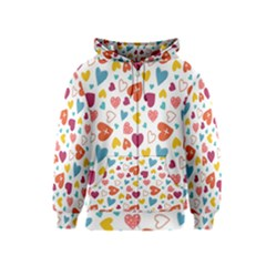 Colorful Bright Hearts Pattern Kids  Zipper Hoodie