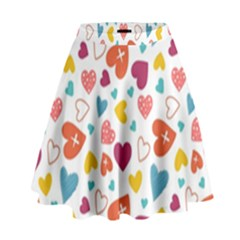 Colorful Bright Hearts Pattern High Waist Skirt