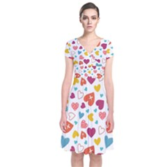 Colorful Bright Hearts Pattern Short Sleeve Front Wrap Dress