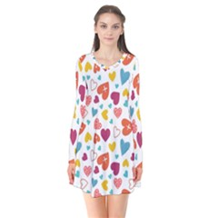 Colorful Bright Hearts Pattern Flare Dress