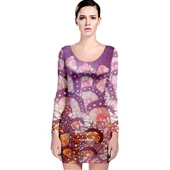 Colorful Art Traditional Batik Pattern Long Sleeve Bodycon Dress