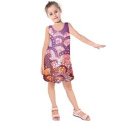 Colorful Art Traditional Batik Pattern Kids  Sleeveless Dress
