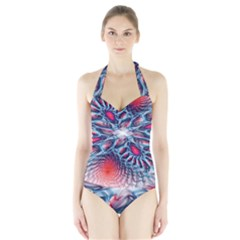 Creative Abstract Halter Swimsuit