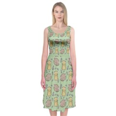 Cute Hamster Pattern Midi Sleeveless Dress