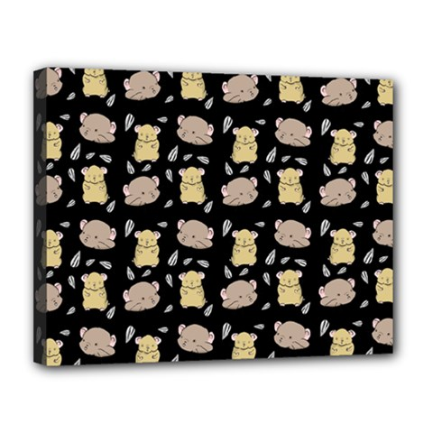 Cute Hamster Pattern Black Background Canvas 14  x 11