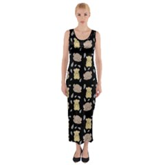 Cute Hamster Pattern Black Background Fitted Maxi Dress