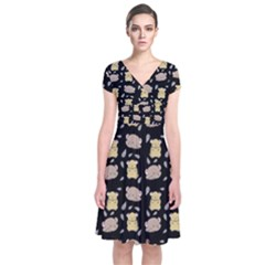 Cute Hamster Pattern Black Background Short Sleeve Front Wrap Dress