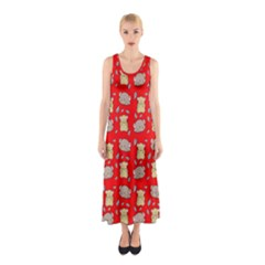 Cute Hamster Pattern Red Background Sleeveless Maxi Dress