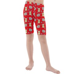 Cute Hamster Pattern Red Background Kids  Mid Length Swim Shorts