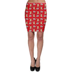 Cute Hamster Pattern Red Background Bodycon Skirt