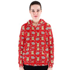 Cute Hamster Pattern Red Background Women s Zipper Hoodie