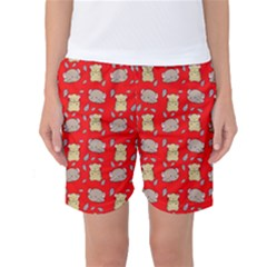Cute Hamster Pattern Red Background Women s Basketball Shorts