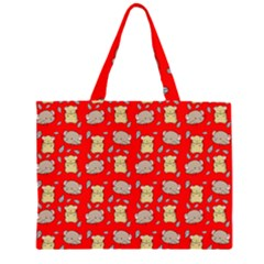Cute Hamster Pattern Red Background Large Tote Bag