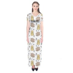 Cute Hamster Pattern Short Sleeve Maxi Dress