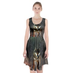 Awesome Wolf In The Night Racerback Midi Dress