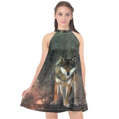 Awesome Wolf In The Night Halter Neckline Chiffon Dress