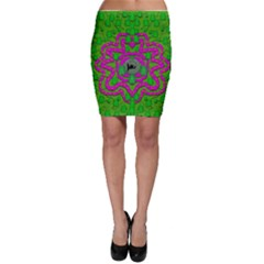 Vegetarian Art With Pasta And Fish Bodycon Skirt