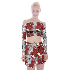 Hand Drawn Red Flowers Pattern Off Shoulder Top With Skirt Set