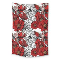 Hand Drawn Red Flowers Pattern Large Tapestry