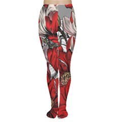 Red Flowers Pattern Women s Tights