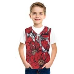 Red Flowers Pattern Kids  Sportswear